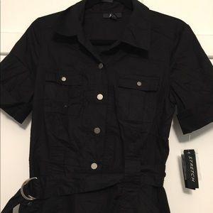 ABG Dresses - Black stretch shirt dress